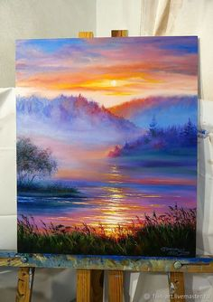 "Landscape Oil Painting on canvas - ""Sunset in the Fog"" – shop . Oil Painting how to paint with oil paints Watercolor Canvas, Oil Painting On Canvas, Painting Art, Sketch Painting, Watercolor Artists, Painting Lessons, Canvas Artwork, Figure Painting, Painting Techniques"