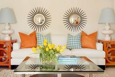 Living Rooms - Blue And Orange Living Room - Design photos, ideas and inspiration. Amazing gallery of interior design and decorating ideas of living rooms by elite interior designers. Living Room Orange, Eclectic Living Room, Living Room Designs, Living Room Decor, Living Spaces, Living Rooms, Decor Room, Apartment Living, Wall Decor