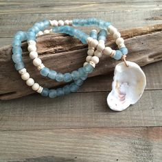 Sea Glass Beaded Necklace with Oyster Shell Pendant, Ostrich Egg Shells, Wood Beaded Necklace, Oyster Shell Necklace, Beach Necklace