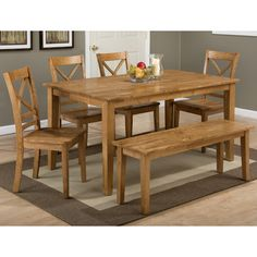 Jofran Simplicity 6 Piece Rectangle Dining Set with Bench in Honey - Solid Wood Dining Set, Rectangle Dining Table, Dining Table With Bench, Solid Wood Dining Table, Kitchen Dining Sets, Kitchen Benches, Dining Room Sets, Kitchen Tables, Kitchen Ideas