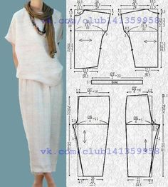 Today's make this with that sewing inspiration is a ready-to-wear ensemble that reminds us that keeping it simple keeps it elegant. Recreate this look with a knit Eureka Top pattern and linen Picasso Pants pattern. So cool and chic for summer. Sewing Dress, Sewing Pants, Dress Sewing Patterns, Sewing Patterns Free, Free Sewing, Clothing Patterns, Sewing Tutorials, Free Pattern, Simple Pattern