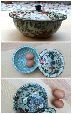 Vintage Floral Enamel Bowl With Cover Small Casserole Painted Serving Kitchen Rustic Farmhouse French Country Decor Greek Enamelware '30s by VintageHomeStories on Etsy