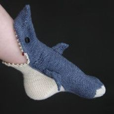 Crocheted Shark Slipper Socks. I need them. All of them.