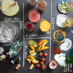 Impress your guests and set up this party-worthy margarita bar at your next gathering. With a variety of garnishes, rimmers, and boozy stir-ins, your guests will be able to customize their drinks any way they want. Margarita Party, Margarita Recipes, Summer Cocktails, Cocktail Drinks, Summer Parties, Fresco, Creamy Chicken Casserole, Raspberry Mojito, Apple Bars