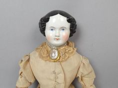 Antique 19c German China Head Doll W Brooch With Cameo Brooch Orig Clothing