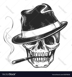 Gangster skull tattoo. Death head with cigar and hat vector illustration. Download a Free Preview or High Quality Adobe Illustrator Ai, EPS, PDF and High Resolution JPEG versions.