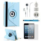 GEARONIC TM iPad Mini Accessories Bundle Rotating Case for Business and Travel, Light Blue 360 degree rotatable with Swivel stand in both Travel Light, Ipad Mini, Light Blue, Phone, Business, Accessories, Telephone, Store, Business Illustration