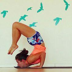 Yoga chin stand scorpion legs