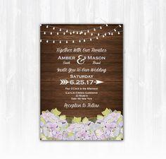 Hydrangea Wedding Invitation DIY PRINTABLE by TreasuredMomentsCard