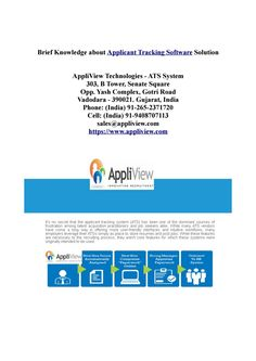 Applicant tracking system ( https://www.appliview.com ) is an advanced and sophisticated that will take your recruitment process to the next level. Recruiters, HR Managers, Professionals, Employment agencies, staffing agencies and HR recruiting departments will change the way they now handle your recruitment, be it online or offline, with this most advanced and sophisticated applicant tracking software available.