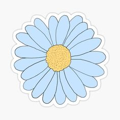 Blue Aesthetic Pastel, Flower Aesthetic, Tumblr Stickers, Cute Stickers, Light Blue Flowers, Cosmos Flowers, Daisy Drawing, Blue Daisy, Teal Blue