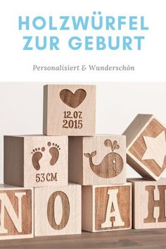 Holzwürfel Geburt, Baby, Geschenkidee Baby, Würfel personalisiert, Geschenkidee Geburt #taufe #geburt #baby #taufgeschenk Presents For Men, Xmas Presents, Xmas Gifts, Wooden Cubes, Learn To Fly, Luxury Packaging, Experience Gifts, Beer Mugs, Other Outfits