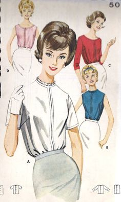 1960s Misses Back Button Blouse Vintage Sewing by MissBettysAttic, $10.00