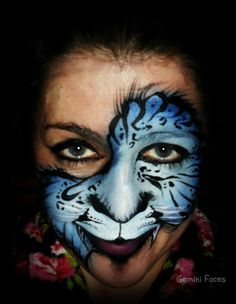 blue cat face painting