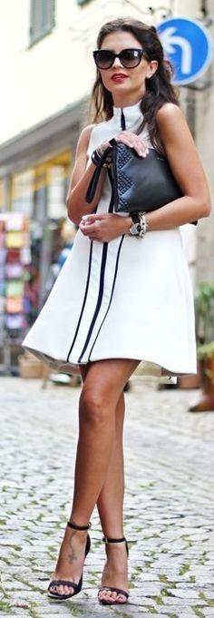 #summer #halterneck #trend | Black And White Stripe Accent Flare Halter Mini Dress