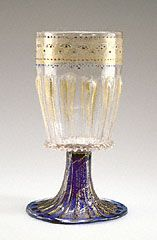 Unknown  Italian, Murano, 1475 - 1500  Free- and mold-blown colorless and cobalt-blue glass with gold-leaf, enamel, and applied decoration