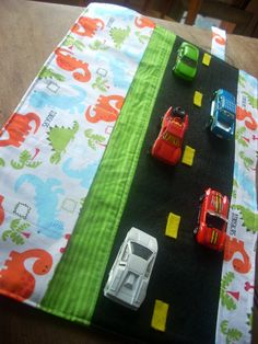 Micah - Christmas. Car Caddy Roll up Tote with Road. $18.00, via Etsy.