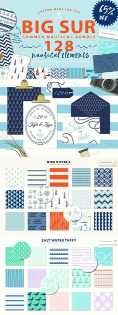 "Summer Nautical Bundle! 128 graphics - This budget saving collection of three popular products, ""Bon Voyage"", ""Ahoy"", and ""Salt Water Taffy"", has everything you need for your summer projects. A total of 60 patterns and 40 brushes all in one package. By Pattern Supply Co. $29 #affiliatelink"