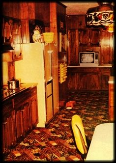 The Graceland Kitchen- The carpet is not the same today, neither is the carpet going up the stairs from the kitchen to his bedroom. Wonder why?