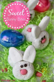Sweet Bunny Bites - 2 powdered sugar donuts, marshmallow ears, jelly bean nose & tail, choc chip eyes @hostesscakes #ad #Easter #Spring