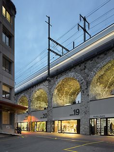 Retail Activating the Base of a Viaduct Architecture Old, Architecture Details, Highway Architecture, Urban Ideas, Retail Facade, Brick Arch, Pedestrian Bridge, Interesting Buildings, Wayfinding Signage