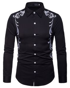 Ericdress Embroidery Printed Slim Button Up Mens Casual Shirts - Moda daily Long Sleeve Shirt Dress, Long Sleeve Shirts, Dress Shirts, Chemises Country, Casual Shirts For Men, Men Casual, Men Shirts, Polo Shirts, Chinese Shirt