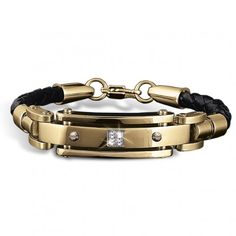 Men's Gold and Leather Bracelet