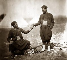 Two French Army Zouaves, wearing uniforms during the Crimean War (1853-1856).