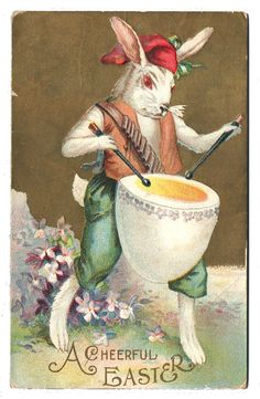 A Cheerful Easter. Easter Lamb, Easter Bunny, Happy Easter, Vintage Cards, Vintage Postcards, Year Of The Rabbit, Rabbit Art, Easter Projects, Bunny Art