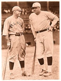 """Babe Ruth and Rogers Hornsby, Sr. (April 1896 – January nicknamed """"The Rajah"""" Baseball Star, New York Yankees Baseball, Better Baseball, Cardinals Baseball, Sports Baseball, Basketball Hoop, Baseball Cards, Famous Baseball Players, First World Series"""