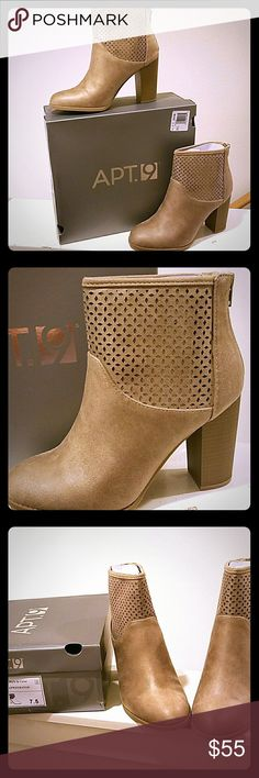 NWB Apt 9 Aprhebatan  Bootie size 7.5 Brand new with tags save big money off retail with these Apt 9 booties. Light brown with a a super cute design and zip up the back. Never worn. Any questions please ask. All offers considered. Bundle for even bigger savings and better deals. Thanks and I look forward to serving yall!!! Apt. 9 Shoes Ankle Boots & Booties