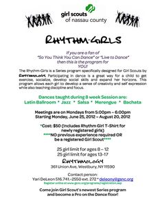 Girl Scouts of Nassau County invites ALL girls ages 8 - 17 to our 8 week summer series dance program Rhythm-Girls, brought to you by Rhythmology! Come out and have FUN and learn a new dance. You do not have to be a registered Girl Scout to participate.