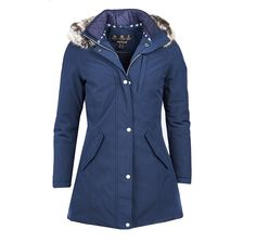 The Women's Barbour Epler Jacket offers you a stylish and practical jacket you are bound to love, carrying you through this season and beyond with ease. The Barbour Epler offers you a waterproof and breathable jacket, finished with inner wadding for added warmth, ideal for keeping the cold and wet weather at bay. The hood has been finished with a fur trim for a parka inspired look, both the hood and fur trim are detachable for your convenience. For an added touch of style this jacket has…