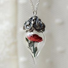 Handmade Gifts | Independent Design | Vintage Goods Red Rose Terrarium Necklace - Jewelry - Girls