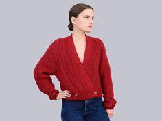 Vintage 80s Burgundy Cardigan V Neck Sweater  by SHOPPOMPOMVINTAGE