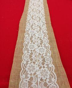 "Lace Table Runner on Natural Burlap.  Vintage Antique .12""x108"".  White, Ivory, Country or  Rustic Wedding on Etsy, $17.00"