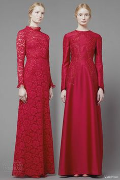 valentino fall 2013 2014 long sleeve red dresses