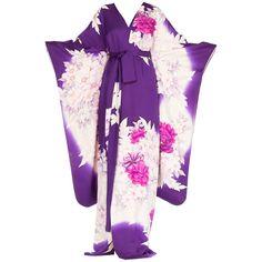 Purple Floral Silk Japanese Kimono Dress For Sale at 1stdibs