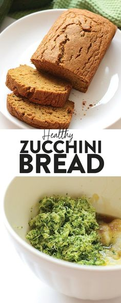 Do you have a bunch of zucchinis you have to use? Make yourself a loaf of healthy zucchini bread made with 100% whole grains and no butter! This zucchini bread is perfect for an easy breakfast or an easy snack in the afternoon! Healthy Dessert Recipes, Healthy Baking, Snack Recipes, Breakfast Recipes, Breakfast Bites, Muffin Recipes, Fall Recipes, Easy Zucchini Bread, Healthy Zucchini