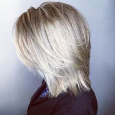 Straight Ash Blonde Layered Cut With White Balayage Medium Shaggy Hairstyles, Shaggy Haircuts, Shag Hairstyles, Straight Hairstyles, Blonde Layers, Ash Blonde, White Ombre Hair, Medium Hair Styles, White Hair