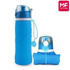 My Friday Silicone Collapsible Water Bottle BPA free Sports Cups Reusable Leak Proof Drinking Water Canteen for OutdoorsS5Blue * To view further for this item, visit the image link.