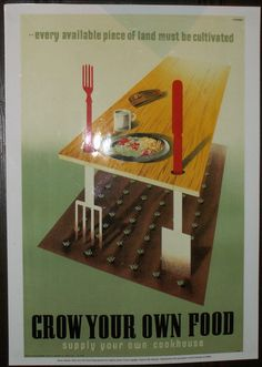 British WWII propaganda poster encouraging cultivation of food