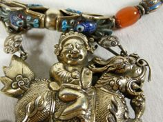 FINEST ANTIQUE CHINESE GILT SILVER KYLIN NECKLACE with ENAMEL & VARIOUS STONES   eBay