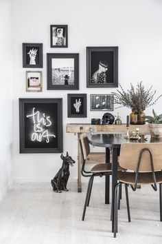 Vintage frames painted black