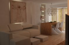 Apartment remodeling 3D rendering image-Valencia (Spain ) VRay and 3DMax by Ari Signes Designs   To make a small bedroom look bigger can seem like a challenge .I sweat blood!! .The natural color scheme of this room makes this apartment feel larger than it