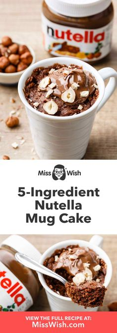 Ermahgerd-worthy Nutella Mug Cake – Mug Cake Recipe – Miss Wish – Schokolade Dream Microwave Chocolate Mug Cake, Nutella Mug Cake, Mug Cake Microwave, Chocolate Mug Cakes, Mug Recipes, Nutella Recipes, Cake Recipes, Steak Recipes, Nutella Snacks