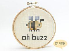 Bumble Bee Cross Stitch Pattern - Oh Buzz Cute Cross Stitch Pattern. $2.50, via Etsy.