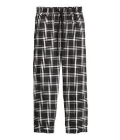 Pyjama bottoms in flannel with an elasticated drawstring waist. - Visit