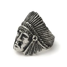 The Great Frog 'Indian Chief' Ring. Handmade in London from hallmarked .925 British sterling silver.