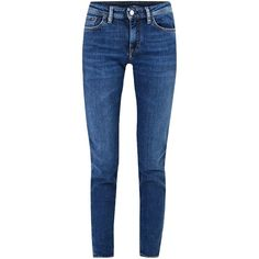 Acne Studios Mid Blue Clim Jeans ($280) ❤ liked on Polyvore featuring jeans, 5 pocket jeans, blue jeans, acne studios, slim leg jeans and blue colour jeans